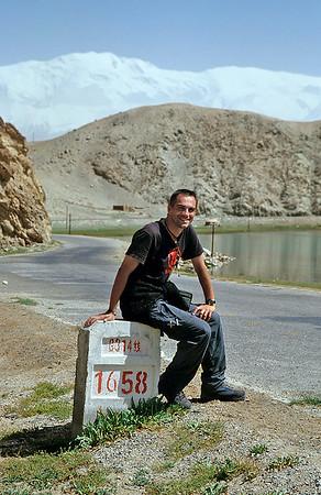Self portrait, Karakoram Highway, Xinjiang, 2002