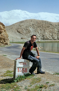 Self portrait, Karakoram Highway, Xinjiang, 2002