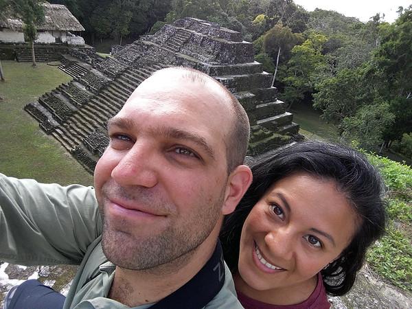 Lorena and I on top of a temple at Yaxha, December 2016, Petén, Guatemala