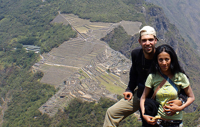 My wife Lorena and I on top of Huayna Picchu, with below us the ruins of Machu Picchu, Sept 2008, Peru.