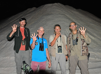 World Record Big Day team: Rudy Gelis, Mitch Lysinger, Tuomas Seimola & Dušan Brinkhuizen. 8th October 2015, Salinas, Ecuador. First team ever to surpass the 400 species barrier. Total: 431