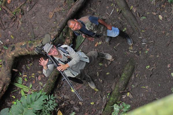 In the field with legendary Amazon birder; Domingo Gualinga. Sani Lodge,  August 2013, Napo, Ecuador.