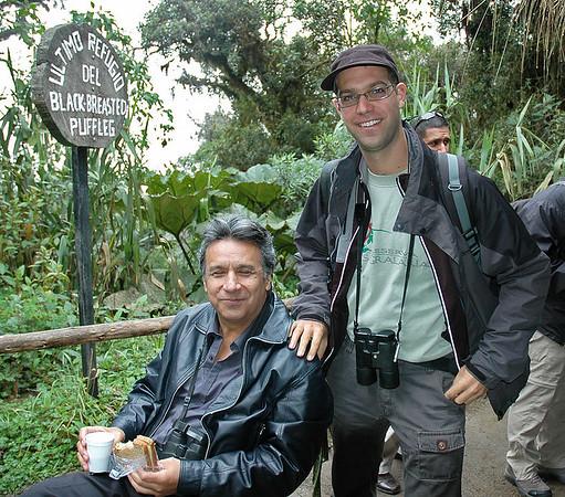 Birding at Yanacocha with Ecuador's president Lenin Moreno.