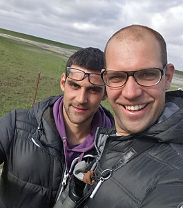 Celebration selfie with my brother Lazar who just discovered a Greater Sandplover during the Top of Holland Birding race. Punt van Reide, 16 May 2015 Groningen, The Netherlands.