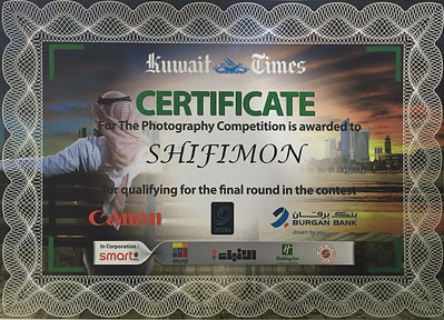 Kuwait times contest 2015-16 certificate of appreciation