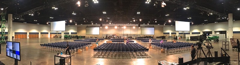 Halfway through the set up for Tony Robbins at the Tampa Convention Center.