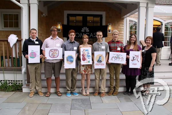 Pictured left to right:   Eric Demers, Keegan Gilmore, Jonathan Almonte, Ariel Sampou,  Nicholas Glaser, Kyle Gilmore, Kiana Suchecki, Mary O'Keeffe (Comcast).   Students Awarded Scholarships in the 2013 Comcast  Cape-Wide Student T-Shirt Art Scholarship Competition   June 03, 2013  The Arts Foundation of Cape Cod awarded 9 area students scholarships  in the Comcast Cape-Wide Student T-Shirt Art Scholarship Competition  at a reception last Tuesday, May 28, at the Falmouth Historical Society.  Almost 500 area students submitted artwork to the competition to create  the official Arts Foundation of Cape Cod T-shirt commemorating the  28th Annual Citizens Bank Pops by the Sea concert on August 11,  2013. The winning students' school art departments also received  matching cash awards . . .  2013PRESS RELEASEArts Foundation of Cape Cod