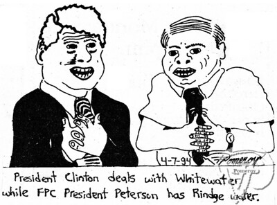 """WEAPONa cartoon:based on the """"close to home"""" with water.  The Pierce Arrow APRIL 1994"""
