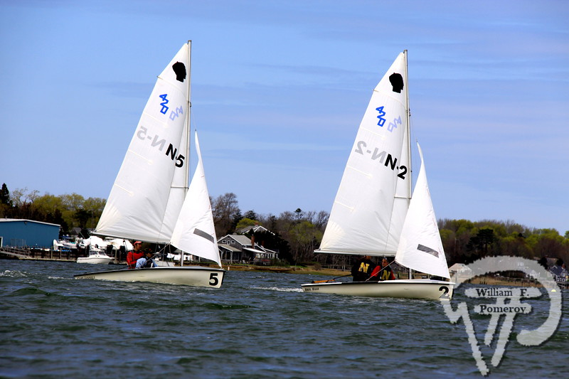 D-Y Dolphins boat #4 with under skipper Corey Hennigan (junior) and crew Kylie Bowen (sophomore) lead the charge of boats in a recent meet against Nauset and Barnstable.  Future looks bright for Dennis-Yarmouth sailing  WickedLocal.com/CapeCod May 12, 2011COMMUNITY NEWSPAPER COMPANY