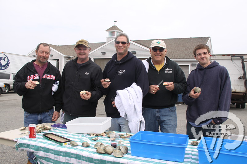 "<font style=""color: #dab25b; font-size: 14px; font-family: Century Gothic; font-weight: bold; font-style: italic;"">Quahog shuck-off participants include:  Mark Liska, Jamie Eldredge, Andy Baylor, Bob Denn and Dan Woods. </font>"