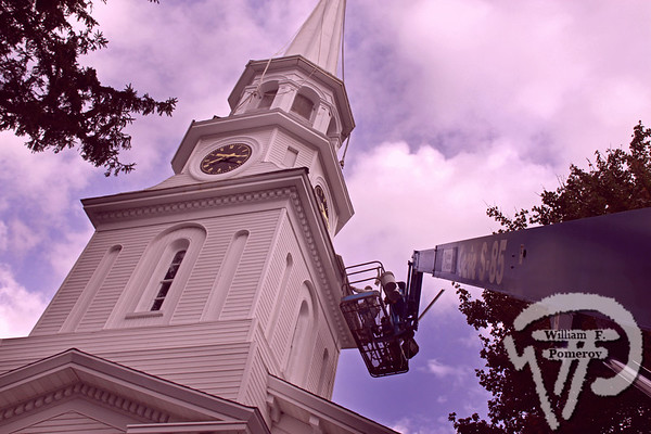 STEEPLE CHASE Repairs to the First Congregational Church steeple  have begun.  Harwich Oracle  OCTOBER 3, 2012 front cover