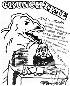 """FREELANCEa cartoon:based on the """"current events"""" in a student's mindaround the end of first semester.  The Pierce Arrow DECEMBER 1994"""