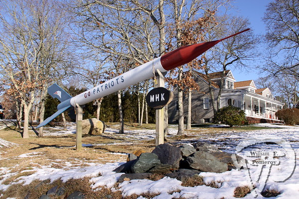 READY TO RUMBLE This 23 foot-long Patriot missile on Route 39 is a landmark  for Harwich sports fans.  Harwich Oracle January 9, 2013 front page