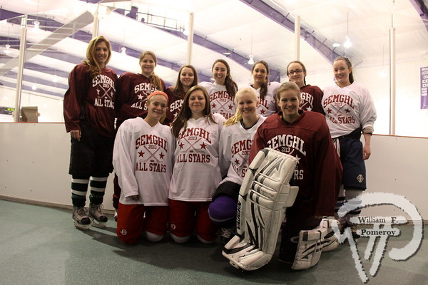 SEMGHL All Stars and Cape Cod Storm members,  front row: Barnstable Red Raiders Sarah Boule and Morgan Richard,  Bourne/Mashpee/Wareham's Kate Albretson and Falmouth Clipper Madison Scavotto  back row: Dennis-Yarmouth Dolphin Jess Linell, Falmouth's Amy Wilson and Hannah Ghelfi,  Sandwich Blue Knights Maggie Layo and Courtney Alexander, Falmouth's Alexa Scribner  and Katie Flynn of Sandwich.