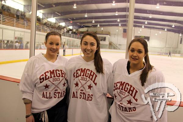Sandwich High School Blue Knights all stars  Katie Flynn, Maggie Layo and Courtney Alexander.