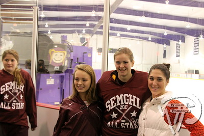 Falmouth High School Clippers'  Madison Scavotto plus friends Callan Small and Olivia Hough.