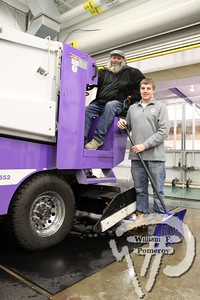 Zamboni driver Garry Currier  along with rink assistant Colin Lanoie.