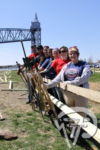Site improvement project, instituting safety along the Cape Cod Canal are a team of volunteers from Boston University.