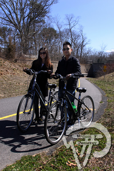 Vida Lee accompanies Eric Han  from Brooklyn, New York. SEEN ON SCENE:  Along the  Cape Cod Rail Trail Along the Cape Cod Rail Trail mixed with warmer weather  this past Saturday heightened curiosity for some to explore  from Brewster to Wellfleet's town line.   9 — 12  WickedLocal.com/CapeCod April 1, 2013 COMMUNITY NEWSPAPER COMPANY