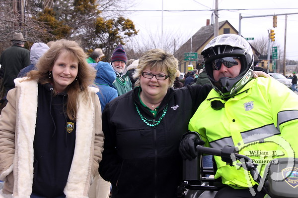 Kelly Lowe of Sagamore Beach and Dotty Lavin from South Dennis  are accompanied by Chris Capobianco of the Yarmouth Police Department. SEEN ON SCENE:  Cape Cod St. Patrick's Day Parade  Large crowds were drawn along both sides of Route 28 this past Saturday  in West Dennis spilling into South Yarmouth, all to help celebrate  the 8th annual Cape Cod St. Patrick's Day Parade.   19 of 21  WickedLocal.com/CapeCod March 11, 2013 COMMUNITY NEWSPAPER COMPANY
