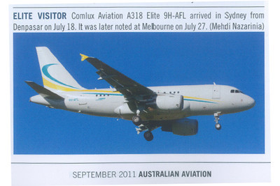 9H-AFL published in Australian Aviation Magazine, September 2011, No. 286.