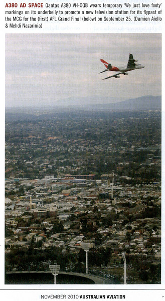VH-OQB flypast over MCG on the 1st AFL Grand Final! published in Australian Aviation Magazine, November 2010, No. 277