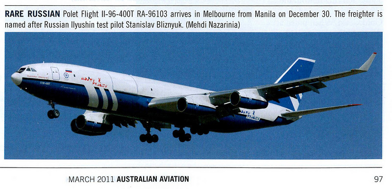 Published in Australian Aviation Magazine, March 2011, No. 280, page 97.