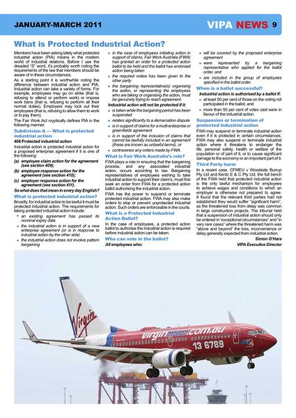 VIPA (Virgin Blue Pilots Association) newsletter, January/March 2011.