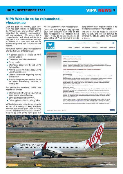 VIPA (Virgin Blue Pilots Association) newsletter, July/September 2011.