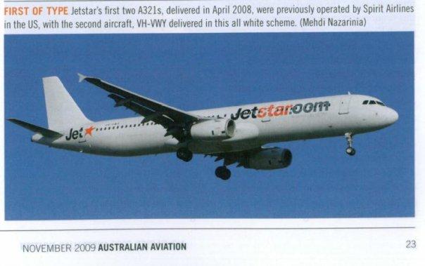 VH-VWY published in Australian Aviation Magazine, November 2009, No. 266