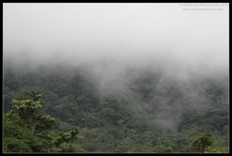 Cloud cover till the lower slopes of Arenal Volcano, La Fortuna, Costa Rica, November 2014
