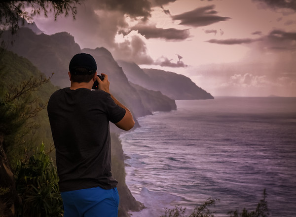 Photographer looking at mountain