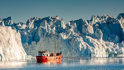 Boat and icebergs