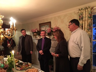 The Primate with Fr. Vasken Kouzouian and Dan and Lisa Kolligian Dorian who hosted the Friday night dinner.