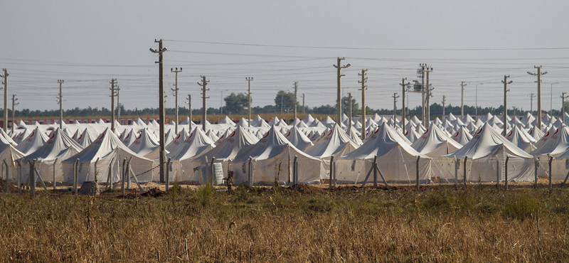 Syrian refugee camp in Turkey near the border crossing