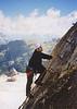 Julian climbing via ferrata style on the west ridge of the Marmolada.