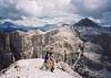 Piz Boe from the summit of Pisciadu. The Marmolada behind.