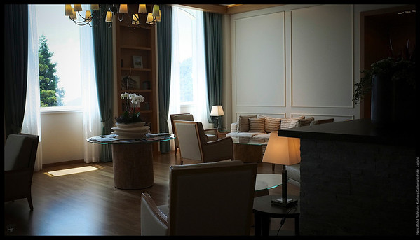 The cosy lobby  Kurhaus Cademario Hotel, Lugano
