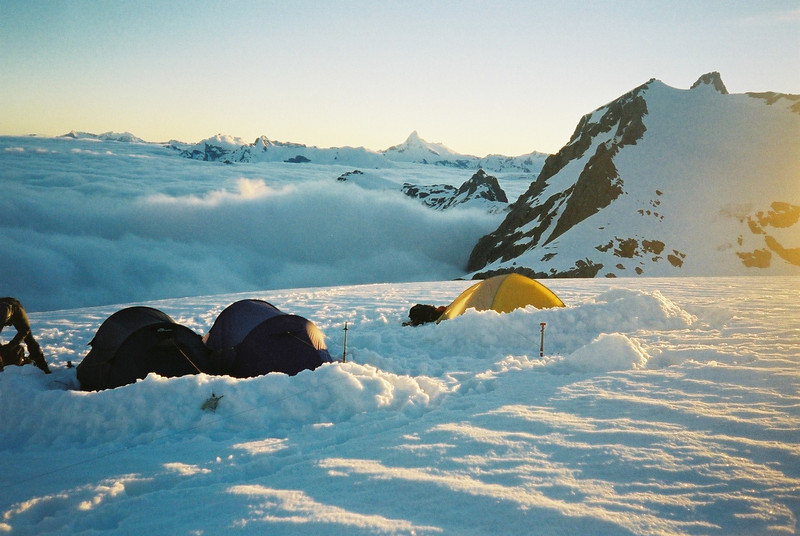 Camping on the Olivine Ice Plateau with Mt. Aspring in background