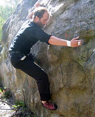 Gavin bouldering at Fontainebleau, France