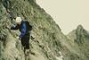 Martine descending the summit of Pic Estanas, Spanish Pyrenees.