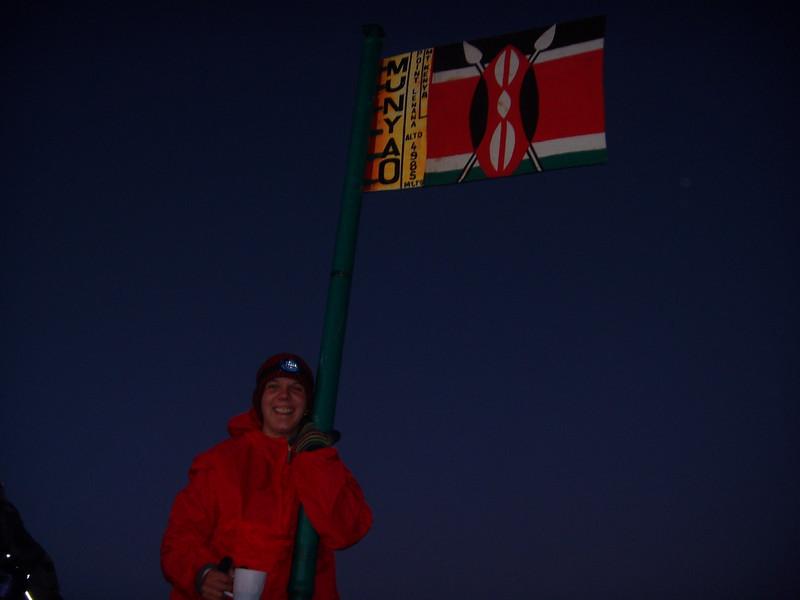 Amy at Point Lenana 4985m, on Mt. Kenya