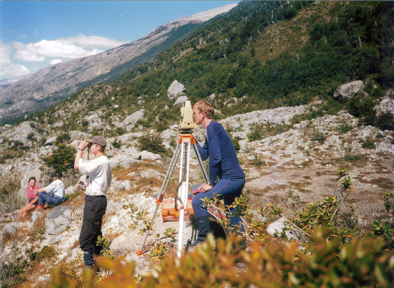 Graham surveying glacial retreat in Patagonia