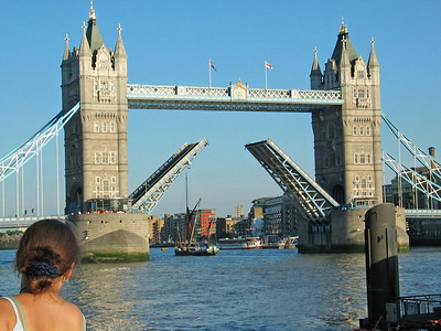 London 9 - Tower Bridge  On the rare occasion, the bridge does lift up to allow ships on the Thames pass through. I was lucky that this happen while I was there to snap this picture up.