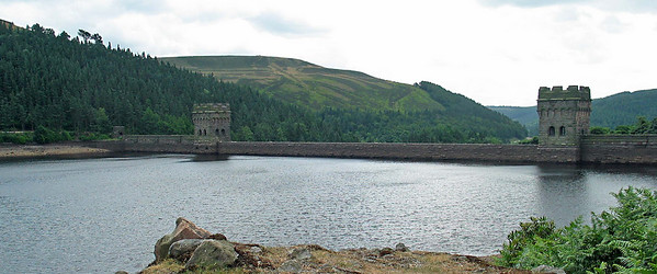 Derwent Reservoir, Yorkshire Peak District 5  Derwent Reservoir is the middle of three reservoirs in the Upper Derwent Valley in the north east of Derbyshire, England. The River Derwent flows first through Howden Reservoir, then Derwent Reservoir and finally through Ladybower Reservoir. Between them they provide practically all of Derbyshire's water, as well as to a large part of South Yorkshire's and as far afield as Nottingham and Leicester.  Derwent Reservoir is around 1.5 mi (2 km) in length, running broadly north-south, with Howden Dam at the northern end and Derwent Dam at the south. A small island lies near the Howden Dam. The Abbey Brook flows into the reservoir from the east.  At its peak the reservoir covers an area of 70.8 hectares (175 acres) and at its deepest point is 34.7 metres deep.
