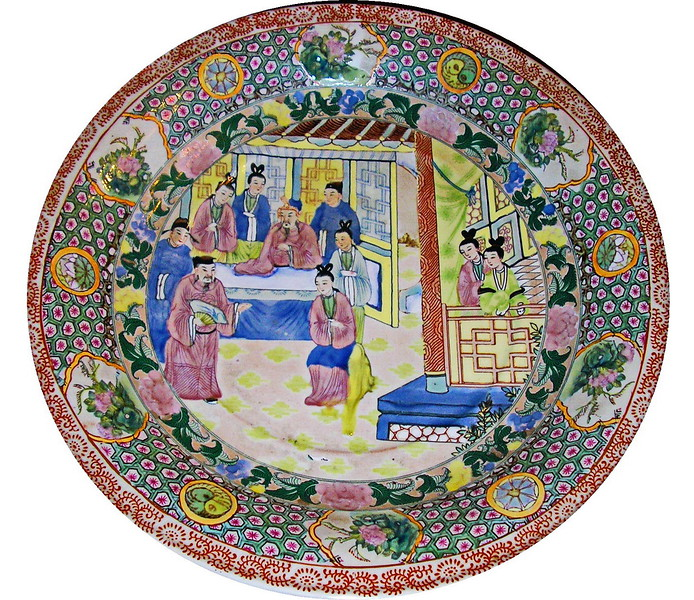Rose Medallion with Indoor Scene