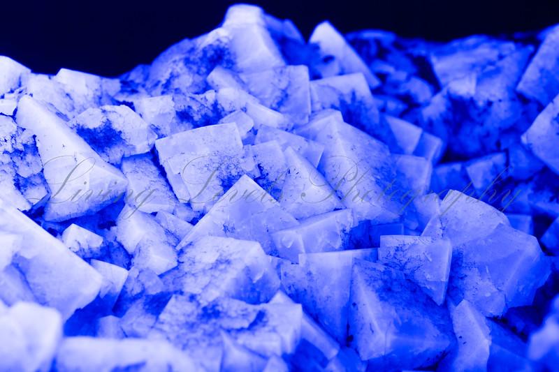 Weardale fluorite fluorescing under long wave UV light