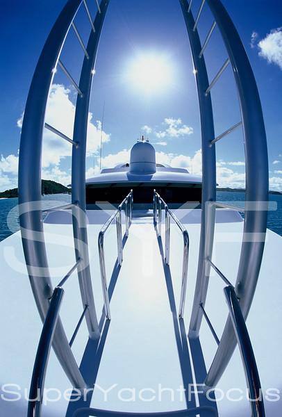 Fisheye superyacht foredeck