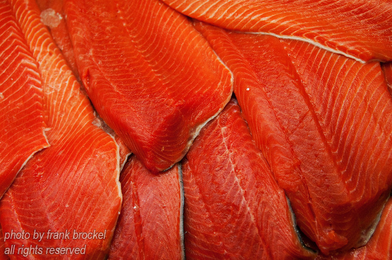 Salmon in a display case - looks delicious