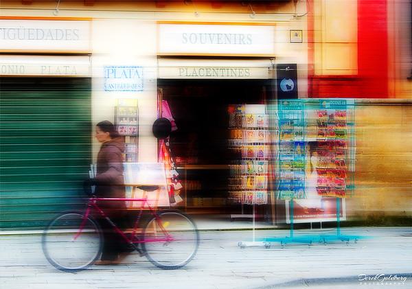 Woman with Bike, Plaza de Espana, Seville, Spain